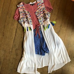 NWT White Boho Duster With Colorful Tassel Details